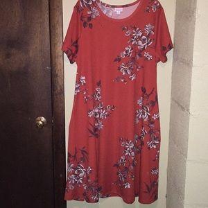 Lularoe pocketed dress. Burnt orange. Size 2X.